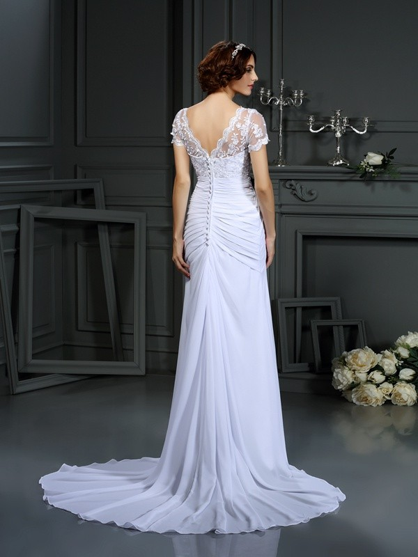 Sheath/Column V-neck Lace Short Sleeves Long Chiffon Wedding Dress