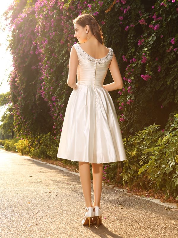 A-Line/Princess V-neck Short Satin Wedding Dress