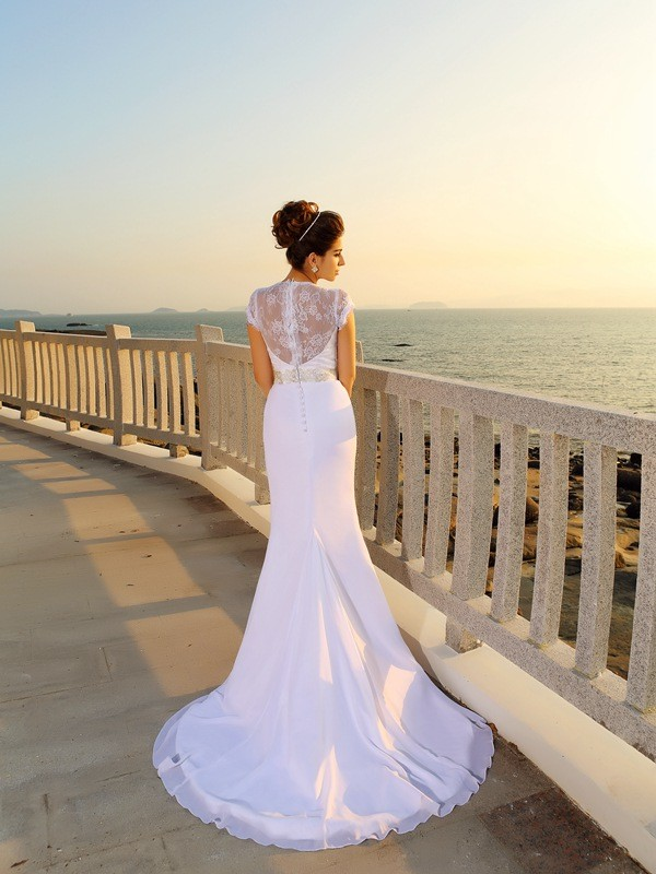 Sheath/Column V-neck Long Chiffon Beach Wedding Dress