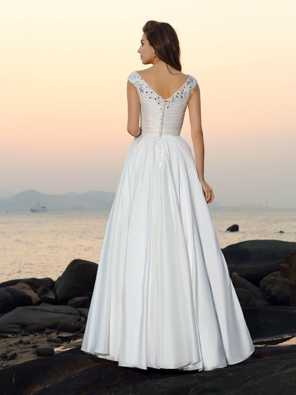 A-Line/Princess V-neck Long Taffeta Beach Wedding Dress