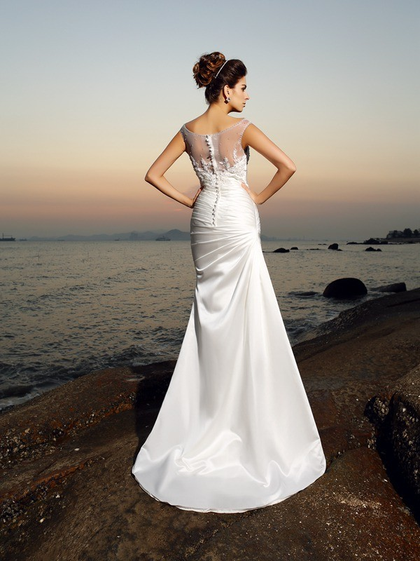 Mermaid Scoop Long Satin Beach Wedding Dress