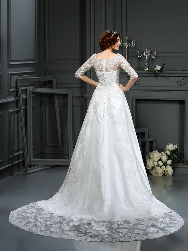 A-Line/Princess Bateau Lace 1/2 Sleeves Long Satin Wedding Dress