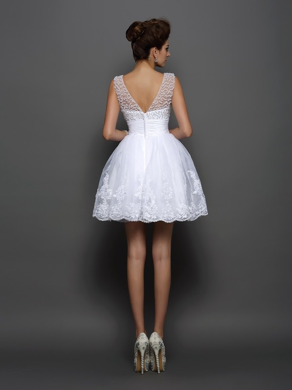 A-Line/Princess Bateau Short Elastic Woven Satin Cocktail Dress