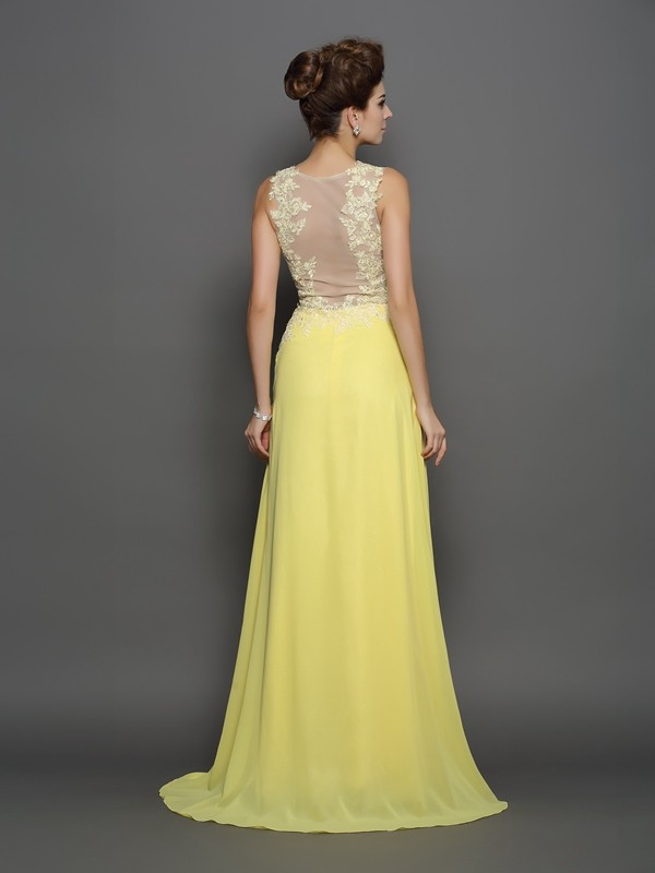 A-Line/Princess Scoop Lace Long Chiffon Dress