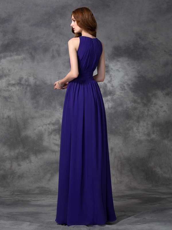 A-Line/Princess Jewel Long Chiffon Bridesmaid Dress