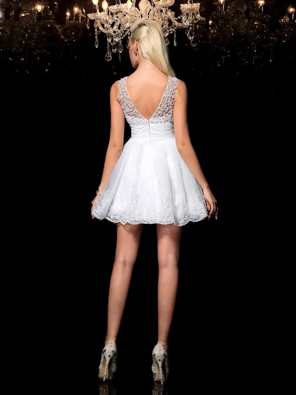 A-Line/Princess Sheer Neck Short Elastic Woven Satin Cocktail Dress