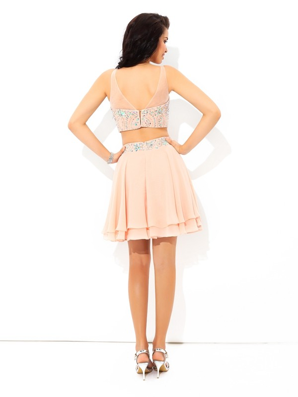A-Line/Princess Sheer Neck Short Chiffon Two Piece Dress