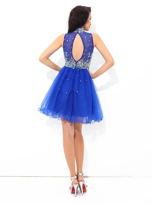 A-Line/Princess High Neck Short Net Cocktail Dress