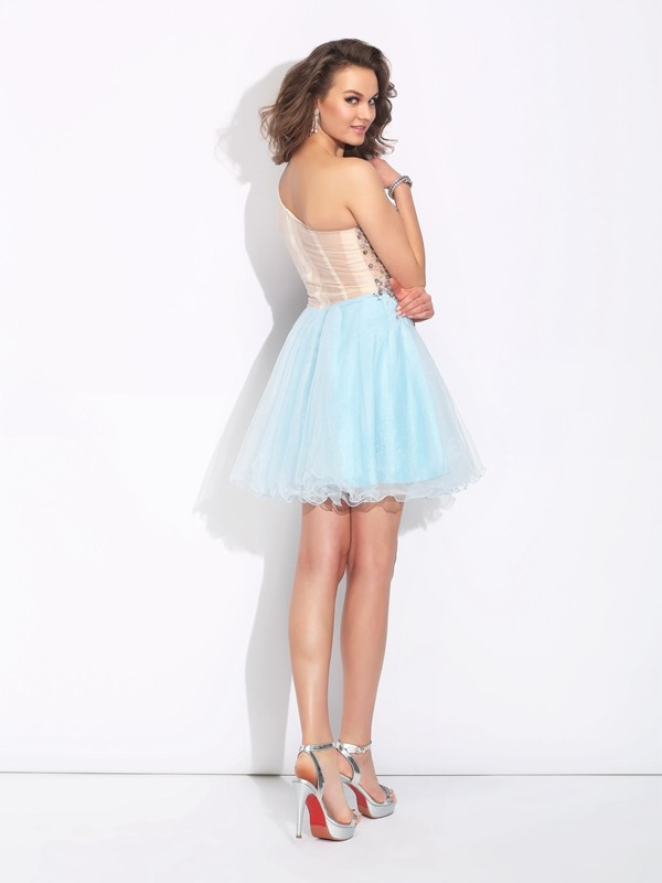 A-Line/Princess One-Shoulder Long Sleeves Short Elastic Woven Satin Dress