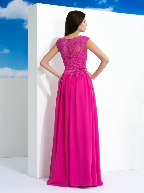 A-Line/Princess Sheer Neck Lace Long Chiffon Dress