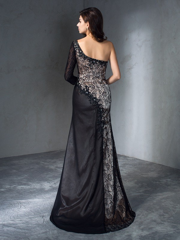 Mermaid One-Shoulder 3/4 Sleeves Long Lace Dress