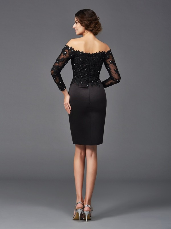 Sheath/Column Off-the-Shoulder Lace Long Sleeves Short Satin Mother of the Bride Dress