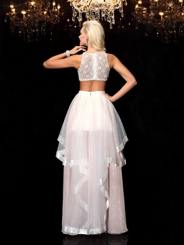 A-Line/Princess Scoop Long Tulle Two Piece Dress
