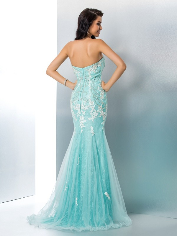 Mermaid Strapless Long Lace Dress