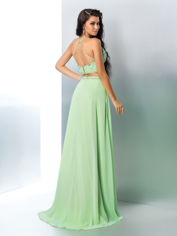 A-Line/Princess Halter Long Chiffon Two Piece Dress