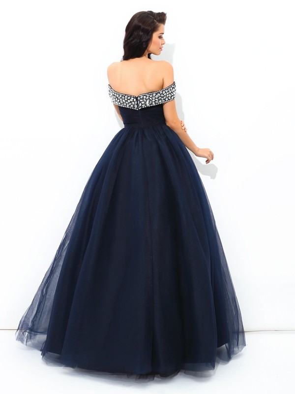 Ball Gown Off-the-Shoulder Long Net Quinceanera Dress