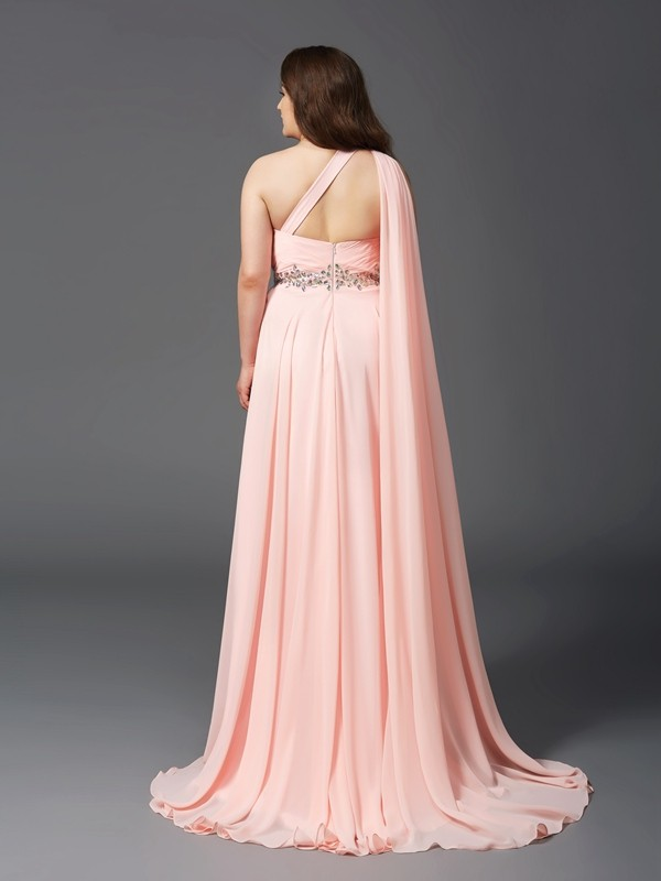 A-Line/Princess One-Shoulder Long Chiffon Plus Size Dress