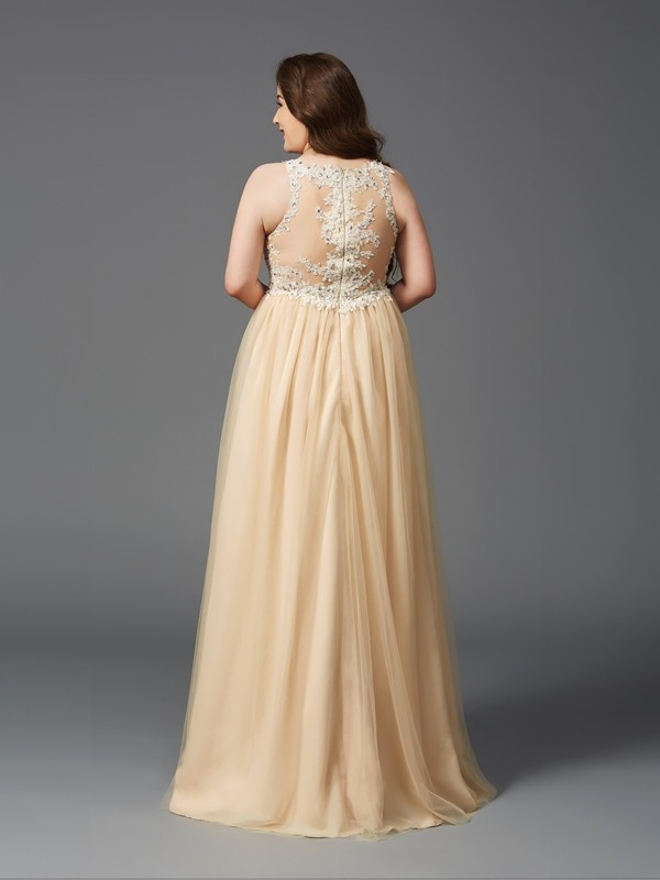A-Line/Princess Scoop Long Net Plus Size Dress