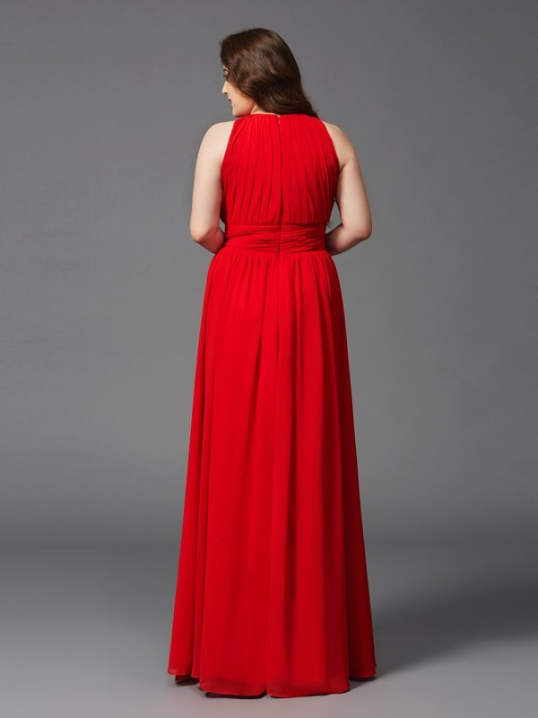 A-Line/Princess Jewel Long Chiffon Plus Size Dress