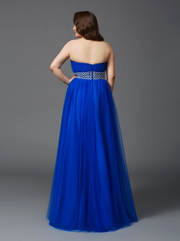 A-Line/Princess Strapless Long Net Plus Size Dress