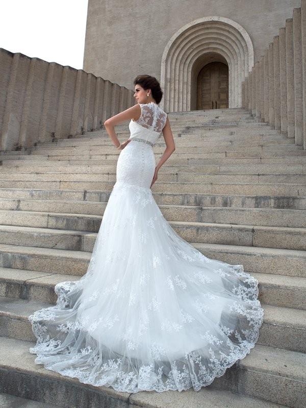 Mermaid V-neck Long Lace Wedding Dress