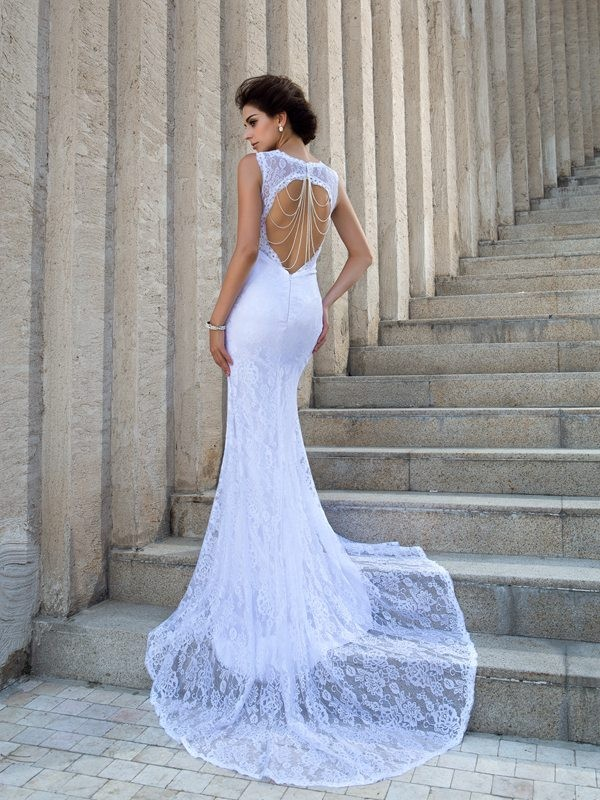 Sheath/Column Straps Lace Long Lace Wedding Dress