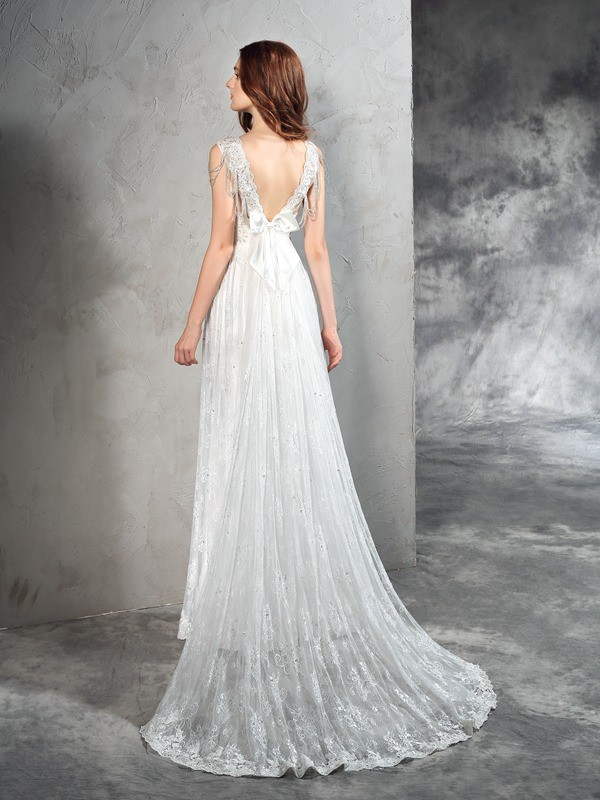 A-Line/Princess Straps Lace Long Lace Wedding Dress