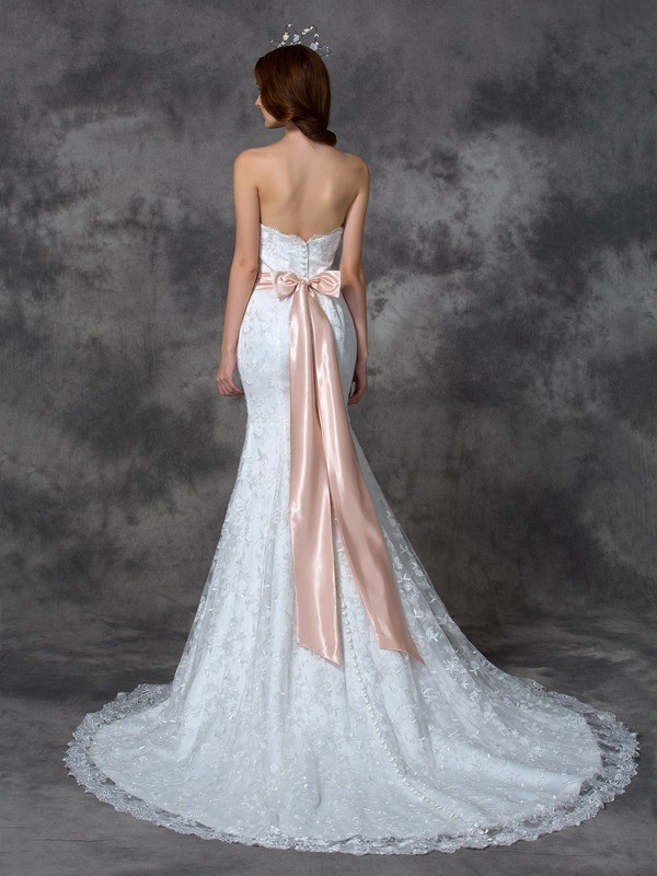 Mermaid Strapless Long Lace Wedding Dress