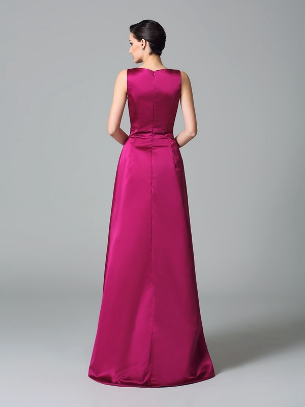 A-Line/Princess Straps Asymmetrical Satin Bridesmaid Dress