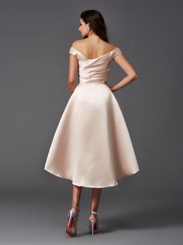 A-Line/Princess Off-the-Shoulder Asymmetrical Satin Bridesmaid Dress