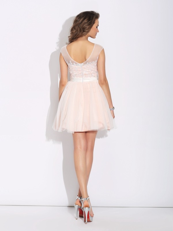 A-Line/Princess Bateau Short Sleeves Short Net Dress
