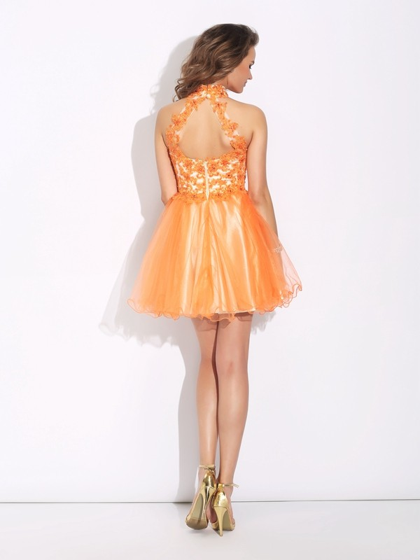A-Line/Princess High Neck Short Net Dress
