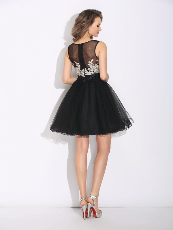A-Line/Princess Scoop Short Net Dress