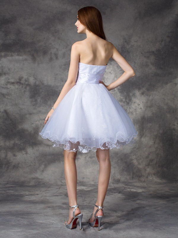A-Line/Princess Sweetheart Short Organza Dress