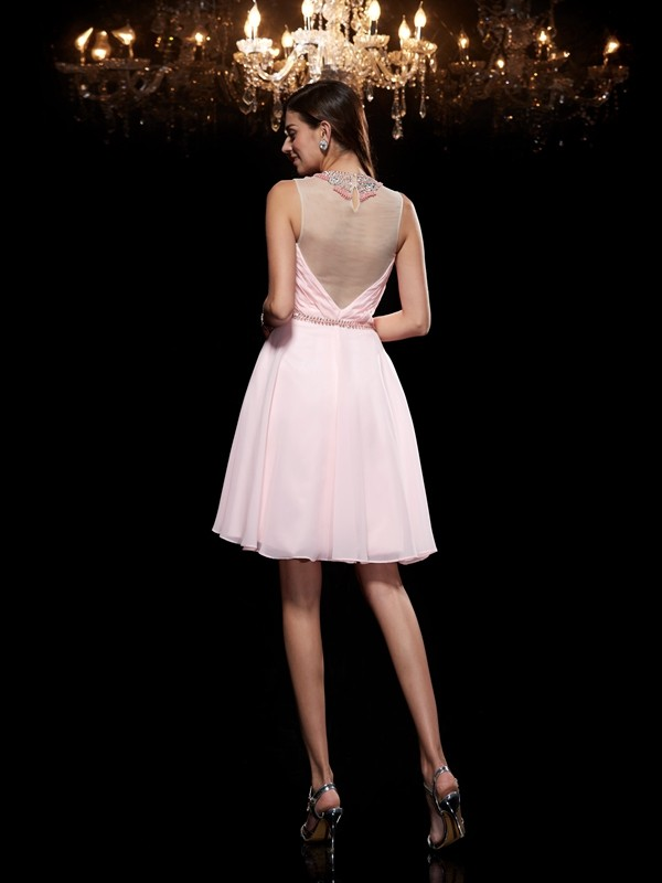 A-Line/Princess Scoop Short Chiffon Dress