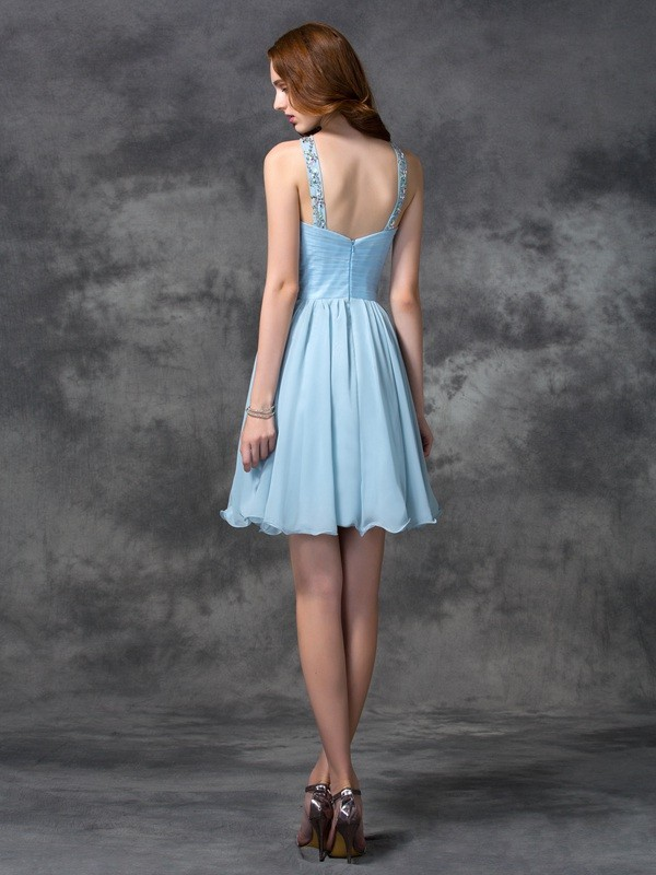 A-Line/Princess Scoop Short Chiffon Cocktail Dress