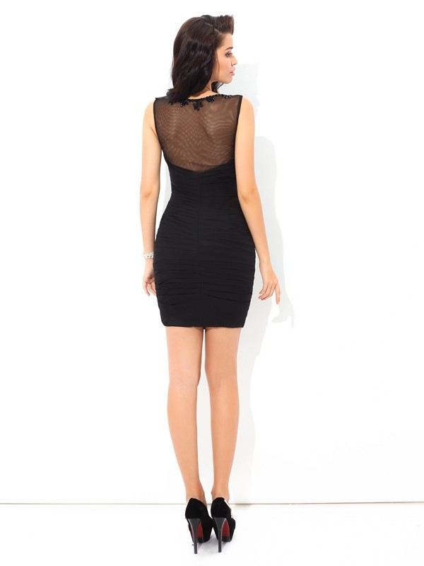 Sheath/Column Sheer Neck Short Chiffon Cocktail Dress
