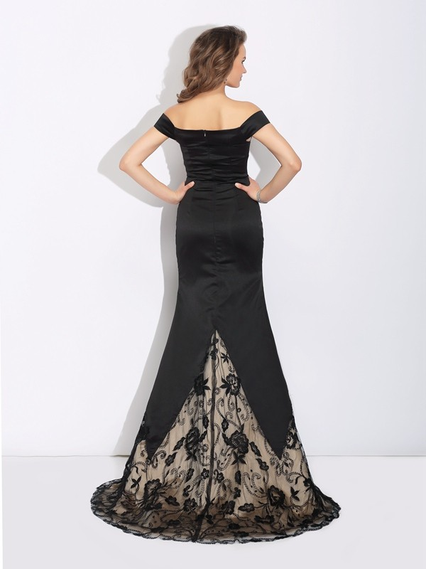 Mermaid Off-the-Shoulder Lace Long Satin Dress