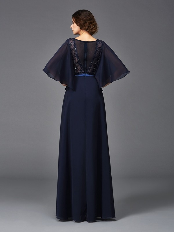 A-Line/Princess Scoop 1/2 Sleeves Long Chiffon Mother of the Bride Dress