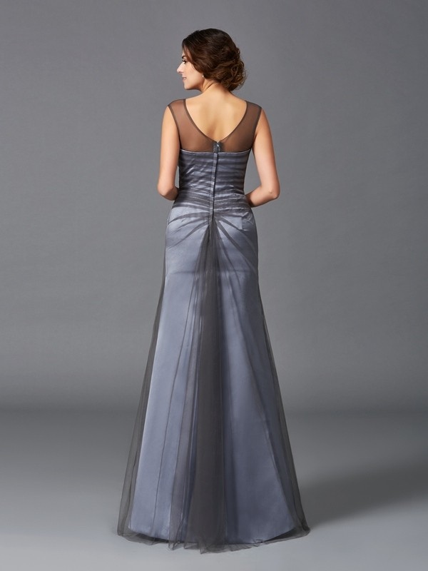 Sheath/Column Scoop Long Net Mother of the Bride Dress