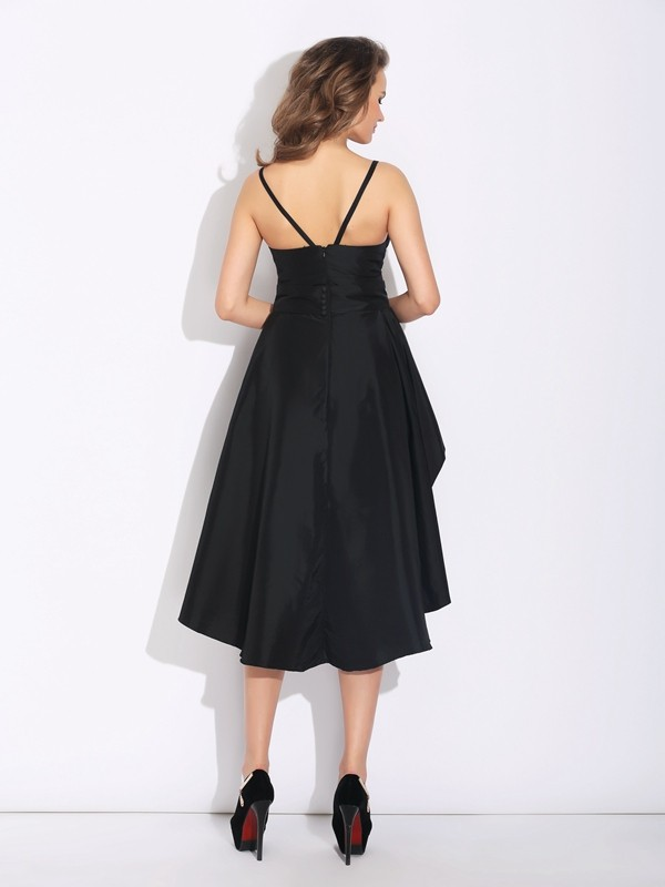 A-Line/Princess Spaghetti Straps Asymmetrical Taffeta Dress