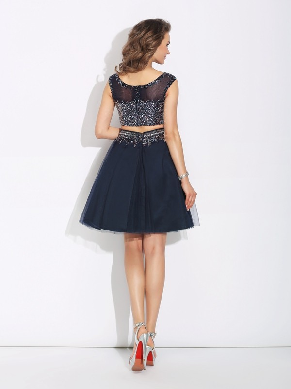A-Line/Princess Bateau Short Net Two Piece Dress