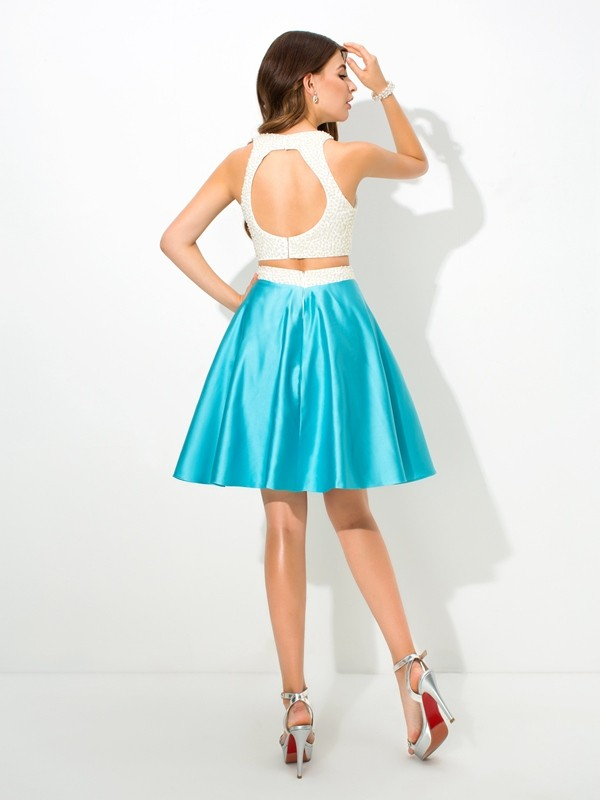 A-Line/Princess Jersey Short Satin Two Piece Dress