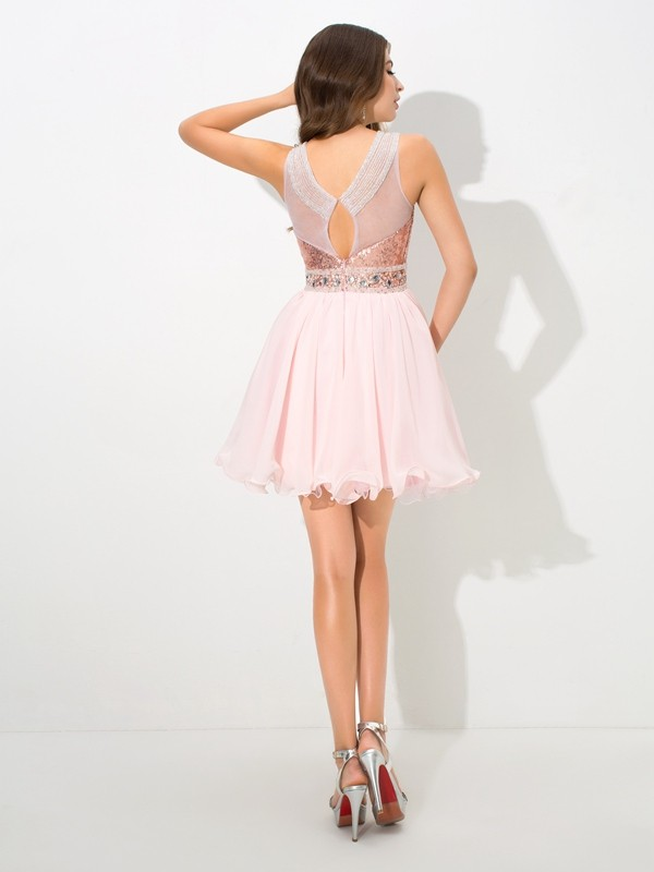 A-Line/Princess Sheer Neck Sequins Short Chiffon Cocktail Dress