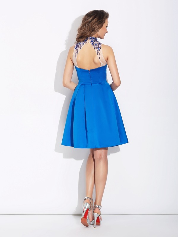 A-Line/Princess High Neck Short Satin Dress