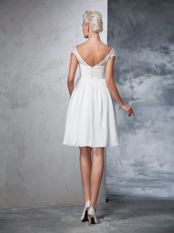 A-Line/Princess Sheer Neck Short Sleeves Short Chiffon Wedding Dress