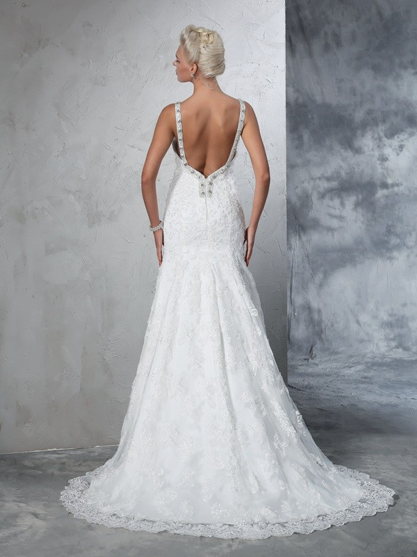 Mermaid Spaghetti Straps Lace Long Lace Wedding Dress
