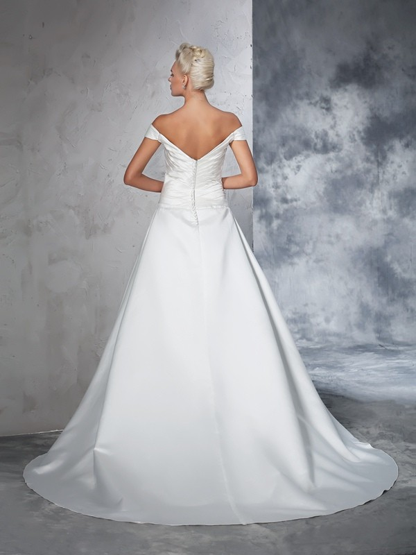 Ball Gown Off-the-Shoulder Long Taffeta Wedding Dress