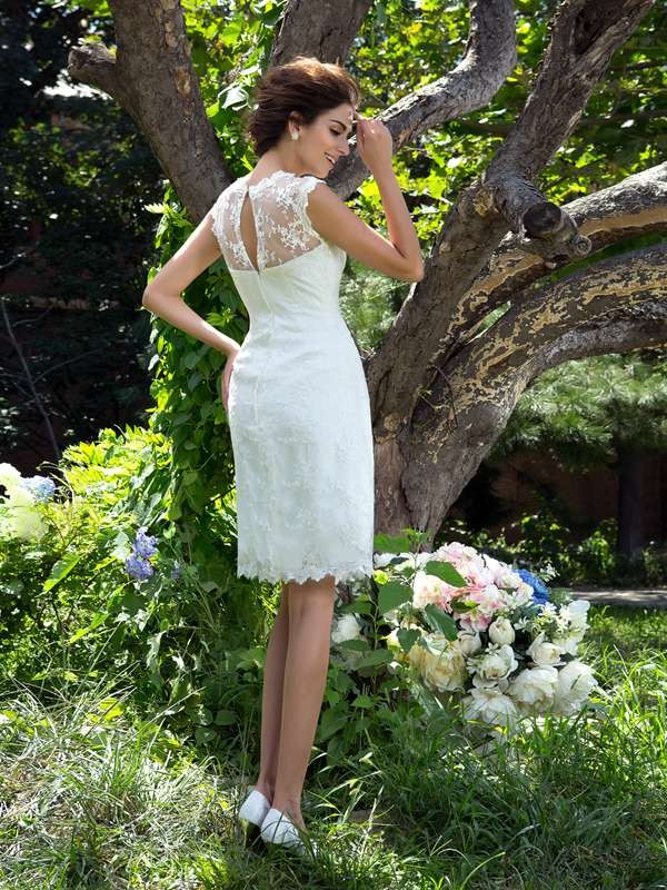 A-Line/Princess Sheer Neck Short Satin Wedding Dress