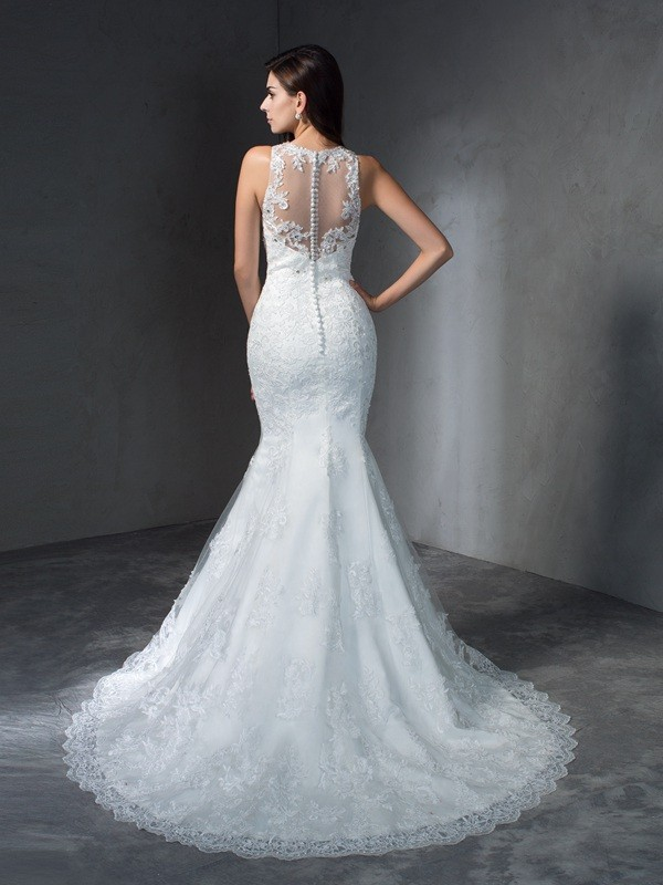 Mermaid Scoop Long Lace Wedding Dress